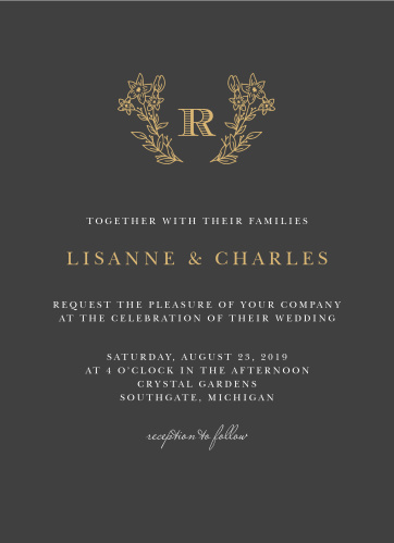 Dark Monogram Wedding Invitations