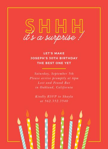 Candle Surprise Milestone Birthday Party Invitations