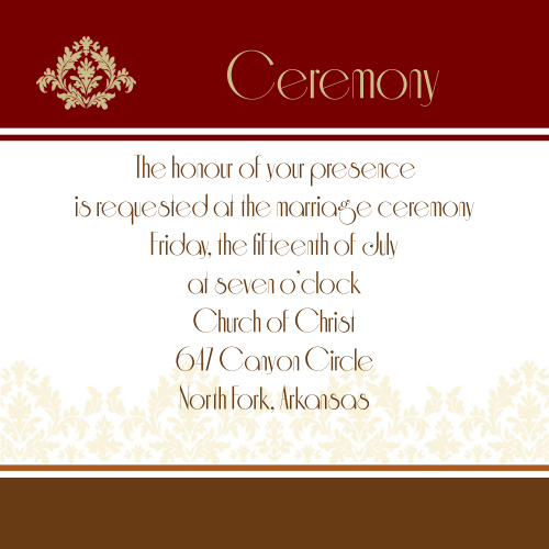 Old Fashioned Charm Ceremony Cards