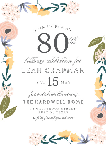 Floral Birthday Invitations Match Your Color Style Free