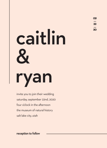 Minimal Type Wedding Invitations