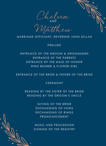 Once Upon a Time Wedding Programs
