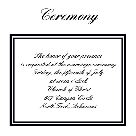 The Formal Ticket Ceremony Cards