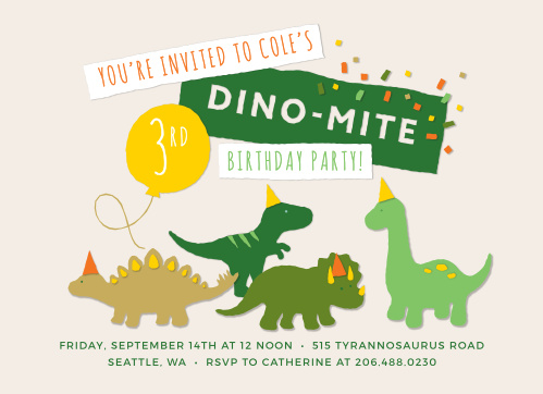 Celebrate like you haven't for millions of years with our Dinosaur Bash Children's Birthday Party Invitations. An utterly adorable quartet of dinosaurs dances across the center of the page, each of them adorned with a complimentary party hat underneath the broad banners that spell out your party details.