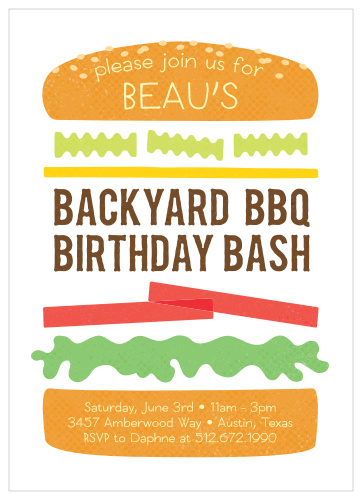 Barbecue Childrens Birthday Party Invitations