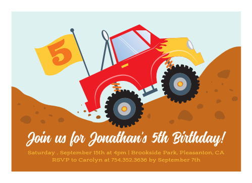Monster Truckin Childrens Birthday Party Invitations