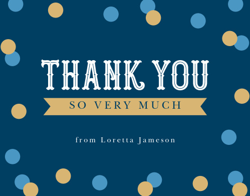 Golden Confetti Milestone Birthday Thank You Cards