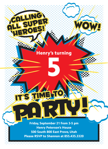 Superhero Party Childrens Birthday Invitations