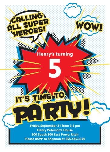 Superhero Party Childrens Birthday Invitations