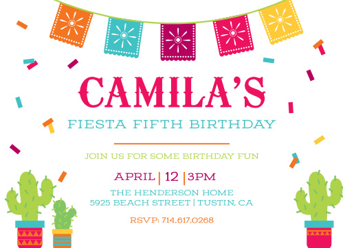 Fiesta Time Childrens Birthday Party Invitations