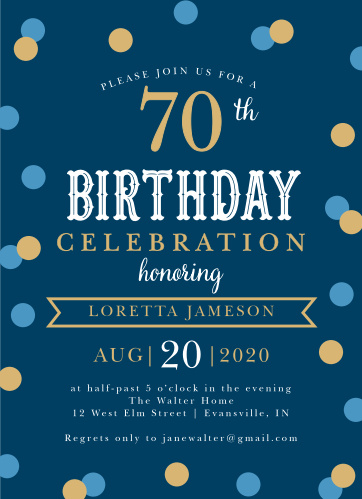 Golden Confetti Milestone Birthday Party Invitations
