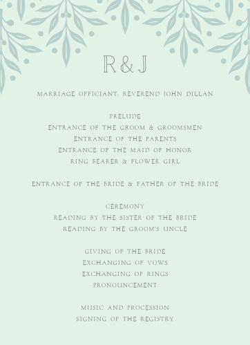 Cinderella Story Wedding Programs