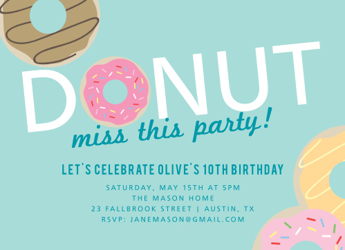 Donut Miss Childrens Birthday Party Invitations
