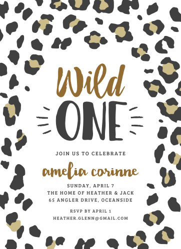 Leopard Print Childrens Birthday Party Invitations