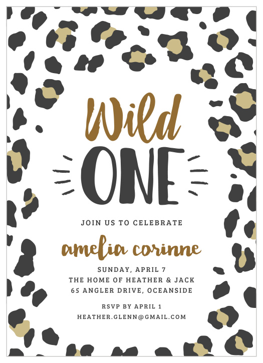 Leopard Children S Birthday Party Invitations Match Your Color Style Free
