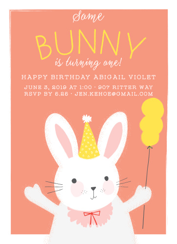 Cutest Bunny Childrens Birthday Party Invitations