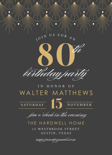 vintage deco milestone birthday party invitations