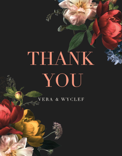 Dark Dutch Florals Wedding Thank You Cards