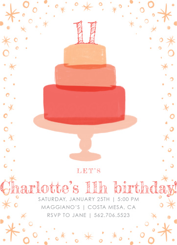 Tiered Cake Childrens Birthday Party Invitations