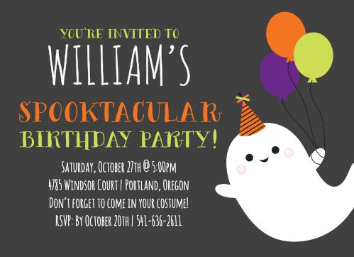 Halloween Ghost Childrens Birthday Party Invitations