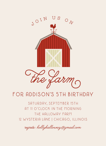 On The Farm Childrens Birthday Party Invitations