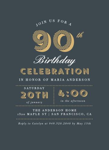 Nifty Ninety Milestone Birthday Party Invitations
