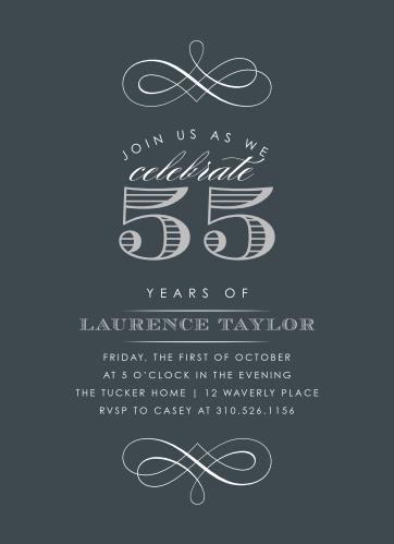 Vintage Year Milestone Birthday Party Invitations