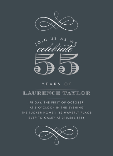 Vintage Year Milestone Birthday Party Invitations