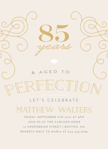 Aged To Perfection Milestone Birthday Party Invitations