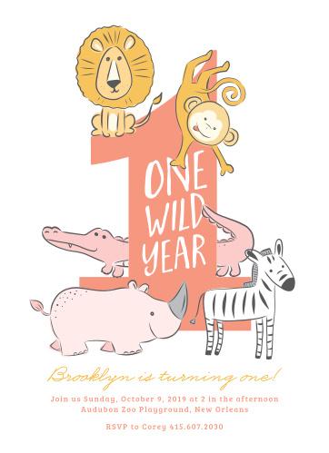 One Wild Year Childrens Birthday Party Invitations