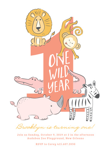 One Wild Year Childrens Birthday Party Invitations