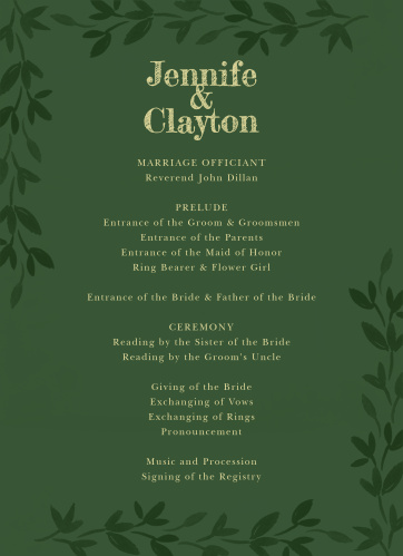 Forest Fairytale Wedding Programs
