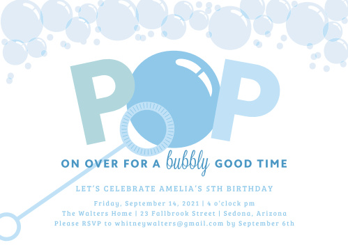 bubbles children s birthday invitations match your color style free