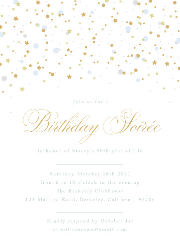 Birthday Soiree Milestone Party Invitations