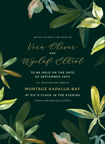 Hawaii Palm Leaves Wedding Invitations