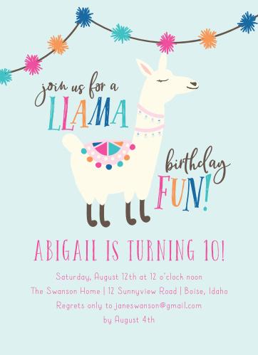A Llama Fun Childrens Birthday Party Invitations
