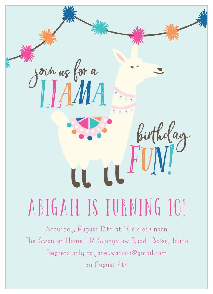 Editable Llama Birthday Party Invitation