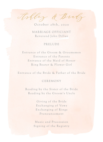 Simple Romance Wedding Programs