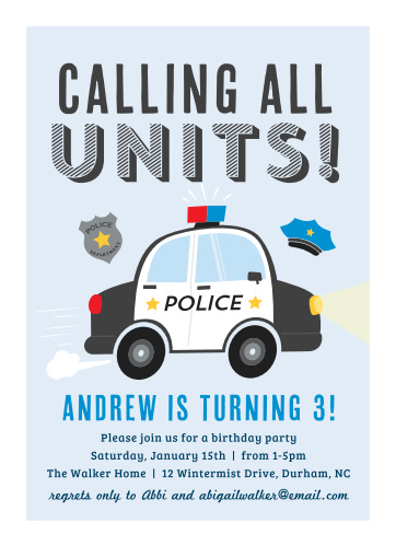 Little Police Car Childrens Birthday Party Invitations