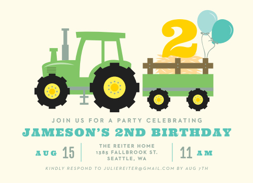 Country Farm Tractor Childrens Birthday Party Invitations