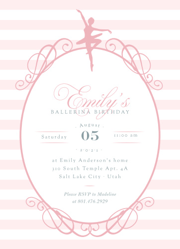 Ballerina Birthday Childrens Party Invitations