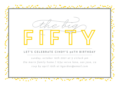 Big Fifty Milestone Birthday Party Invitations