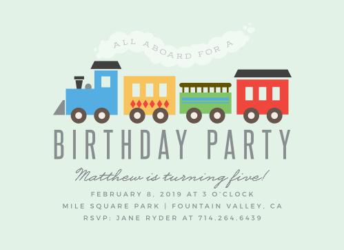Steam Train Childrens Birthday Party Invitations