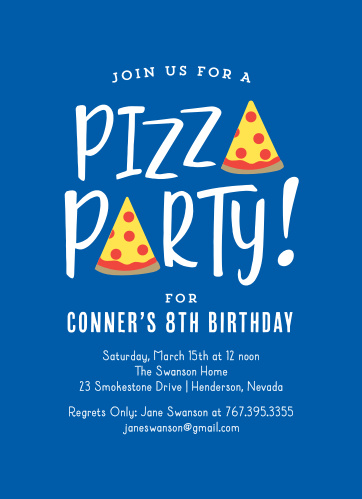 Pizza Party Childrens Birthday Invitations