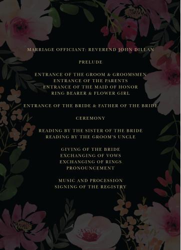 Gothic Flowers Wedding Programs