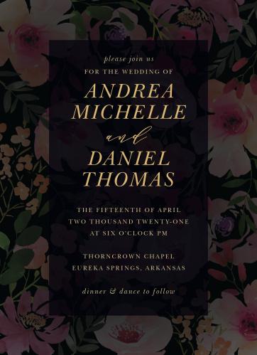 Gothic Flowers Wedding Invitations