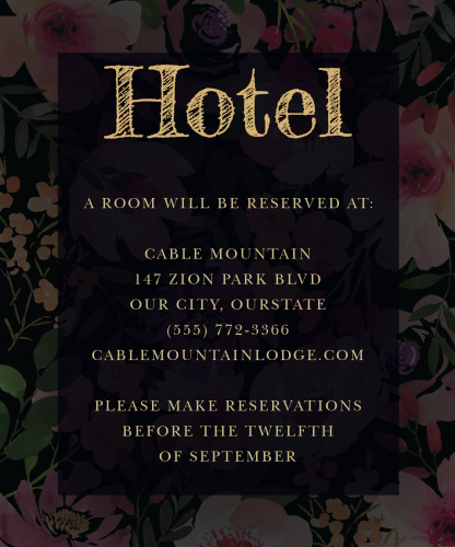 Gothic Flowers Accommodation Cards
