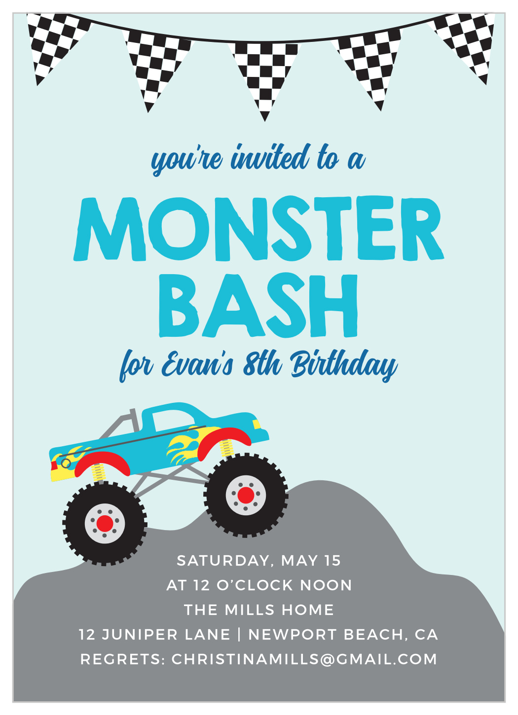 Monster Truck Bash Children S Birthday Invitations By Basic Invite