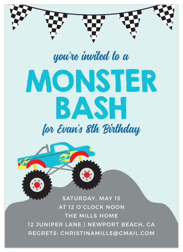 Monster Truck Childrens Birthday Party Invitations