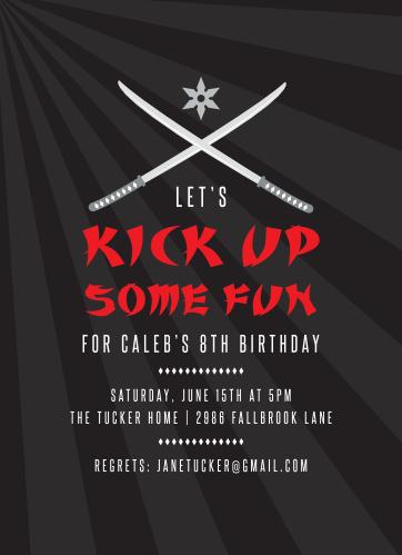 Martial Arts Childrens Birthday Party Invitations